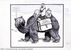 Het schip der (Syrische) woestijn - De twee-bultige beer (ursus bactrianus)  Maker:  Politiek Tekenaar: Jordaan, Leendert Jurriaan  Trefwoord:  kameel  Russische beer  Nikolai Bulganin (persoon)  Nikita Khrushchev (persoon)  Sovjetunie (locatie)  Syrië (locatie)  Verv.jaar:29-11-1956