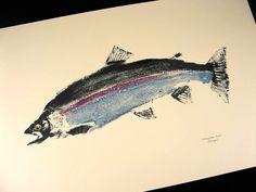 Steelhead Trout Original GYOTAKU Fish Art Rubbing by fishfanatic