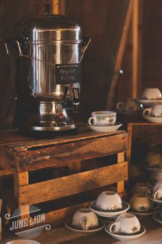 Wedding coffee station. Vintage tea cups. Milk crates. Vintage coffee dispenser. Barn wedding. Rustic wedding.