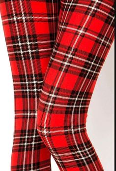 32d5b0c6aa9282 EXTRA PLUS Size RED PLAID FALL/WINTER LEGGINGS 16-24 Buttery Soft NWT #