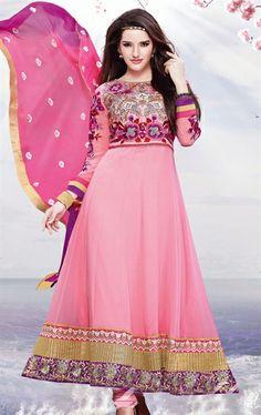 Picture of Sparkling Rose Pink Color Anarkali Salwar Kameez