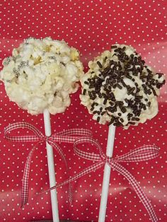 My new invention (hehehe)... Popcorn on a Stick... 2 1/2 bags of microwave popcorn, 1 stick butter and 1 lb bag of large marshmallows. Melt butter and marshmallows and mix in popcorn... form into balls..Plop them onto a stick and add some fun sprinkles...INSTANT GIFT!!!!