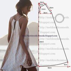 simple summer dress pattern 18 -(warning: this pattern is not in English) moldes moda por medida Diy Clothing, Sewing Clothes, Clothing Patterns, Sewing Patterns, Easy Patterns, Clothes Refashion, Sewing Tutorials, Sewing Hacks, Sewing Crafts