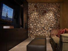 Interieurideeën | Een wand in de woonkamer beplakt met plakjes hout Door marjohart