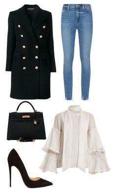 """Back to visit my old school"" by benedetta-ii ❤ liked on Polyvore featuring Balmain, Paige Denim, Chloé, Hermès and Christian Louboutin"