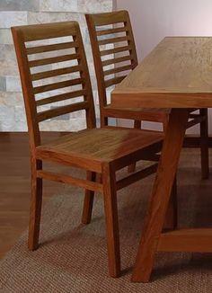 silla rustic de bamb blau de madera de teca rayada estilo rstico
