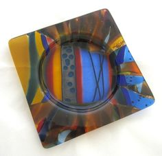 Fused Glass Wine Bottle Coaster - Xocolatl by CaronArtGlass on Etsy