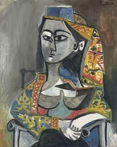 i assume Pablo met Frida at some point? Pablo Picasso (Spanish, Femme au costume turc dans un fauteuil [Woman in Turkish costume in an armchair], Oil on canvas x in. x 73 cm. Kunst Picasso, Art Picasso, Picasso Paintings, Georges Braque, First Art, Famous Artists, Love Art, Modern Art, Drawings