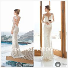 2014 Luxury Sequins Sexy Bling Bling Deep V Neck Long Sleeve Mermaid Wedding Bridal Dresses Gown A1088 US $189.80