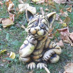 """Купить Кот """"Кагор"""" - разноцветный, кот, шамот, глина, Керамика, садовая скульптура, садовый декор"""