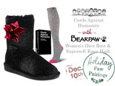 BEARPAW Women's Diva Boot + BEARPAW Supersoft Knee High + Cards Against Humanity Card Game