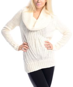 Ivory Cowl Neck Sweater by  #zulily #zulilyfinds