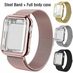 For Apple Watch Series 5 4 3 2 1 Milanese iWatch Band Strap+Full Body Case Cover Apple Watch Wristbands, Apple Types, Apple Watch Accessories, Apple Watch Bands 42mm, Watch Case, Apple Watch Series, Watch Brands, Stainless Steel Bracelet, Screen Protector