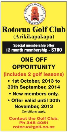 Don't miss out on this great deal we are offering on 12 month memberships at Rotorua Golf Club - Arikikapakapa. #Rotorua #Golf #Deal