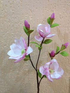 Купить Ветка магнолии - комбинированный, магнолия, цветы ручной работы, цветочная композиция, цветы из фоамирана
