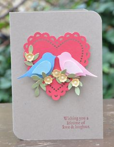 handmade card ... big scalloped heart die cut ... two-step bird in pink and blue sitting on flower covered branch ... love bird wedding ...Stampin' Up!