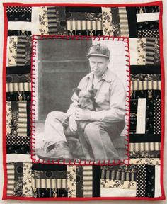 memory quilt-made with pieces of clothing and old photo printed onto fabric