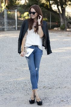 Samantha of Could I Have That styles James Jeans in a killer combo with leather and sequins. Click to shop her style.