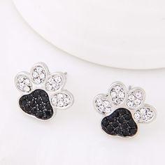 Sterling Silver Paw Print Stud Earrings 891563398c69