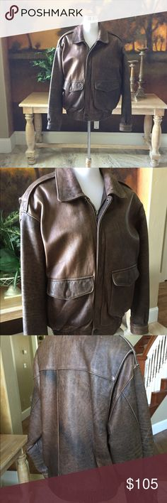 Leather Bomber Jacket Men's vintage leather jacket by Adventure Bound. Has a distressed look on the leather. It is insulated with a thin removable liner vest. It is in Great used condition. The style is an Aviation leather jacket. Jackets & Coats Bomber & Varsity