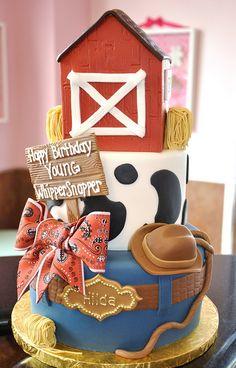 Adorable farm cake. Cute ribbon.