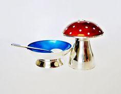 Sterling Silver Enamel Mushroom Shaker w/ Open by mynameisbetina