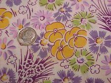 """Vintage Antique Cotton Quilt Doll Fabric Print 1920s Lavender Lime Floral 36"""" Wd"""