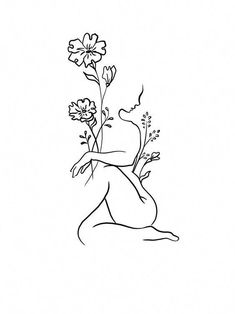 47 ideas line art tattoo sketches ink Line Art Tattoos, Flower Tattoos, Body Art Tattoos, I Tattoo, Tattoo Time, Small Tattoo, Woman Body Tattoo, Woman Tattoos, Arm Tattoos