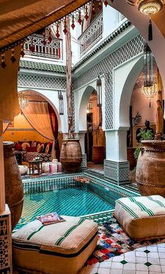 Unique location at the Riad Jemaa El Fna Riad & Spa in Marrakech, Morocco 🇲🇦 📷 Morrocan House, Morrocan Decor, Moroccan Lanterns, Patio Design, Exterior Design, Garden Design, Casa Patio, Marrakech Morocco, Marrakesh