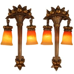 Pair of Art Deco Wall Sconces | From a unique collection of antique and modern wall lights and sconces at http://www.1stdibs.com/furniture/lighting/sconces-wall-lights/