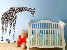 LARGE Giraffe Wall Decals Vinyl Decal Wall by wallvinyldesigns, $69.00
