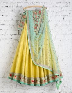 SwatiManish Lehenga SMF LEH 154 17 Sunny yellow lehenga with ocen blue dupatta and threadwork blouse Indian Lehenga, Lehenga Choli, Bridal Lehenga, Anarkali, Lehenga Blouse, Sabyasachi, Indian Attire, Indian Ethnic Wear, Indian Wedding Outfits