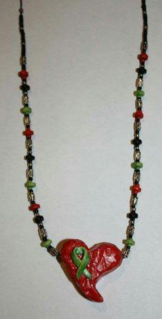 Jewelry creations by JoLynn Self  clay heart transplant patient survivor