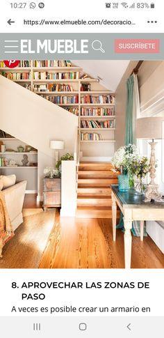 Style At Home, Staircase Bookshelf, Bookshelf Plans, Floor To Ceiling Bookshelves, Simple Bookshelf, Unique Bookshelves, Bookshelf Wall, Open Staircase, Spiral Staircases