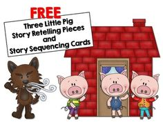 FREE Three Little Pigs Retelling and Story Sequencing Cards Retelling Activities, Book Activities, Preschool Activities, 3 Little Pigs Activities, Teaching Resources, Sequencing Cards, Story Sequencing, Three Little Pigs Story, Fairy Tales Unit