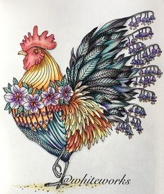 #dagrommar #adultcoloring #hannakarlzon #adultcolouring #rooster #ChickenHouses Chicken Crafts, Chicken Art, Chicken Houses, Botanical Drawings, Botanical Illustration, Illustration Art, Rooster Art, Rooster Decor, Adult Coloring