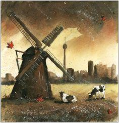"The windmill from Kaszuby and Toronto skyline - watercolor for polish folk band from Canada ""Ludowa Nuta"""