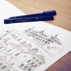 By Elin Östberg Sockerslottet är äntligen på plats #Karlstad #sockerslottet #sketch #teckning #sketchbook #skiss #målning #teckning #teckna #doodle #drawing #fineliner #ink #city #wallart #urbansketches #usk #urbanart #målning #teckna #stadsverk