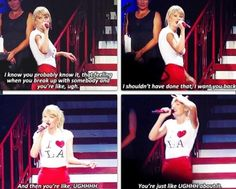 Taylor introducing Cher Lloyd out on stage to sing Want U Back!