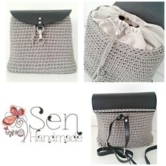 Handmade crochet backpack Grey and black leather details