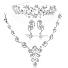 Hot Sale Alloy with Rhinestone Wedding Jewelry Set(Including Tiara,Necklace and Earrings) : Tidebuy.com