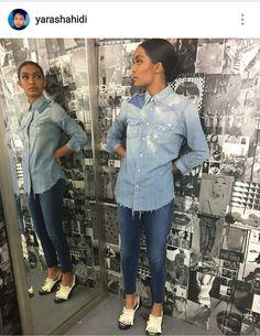 Jean outfit, denim shirt, yara shahidi