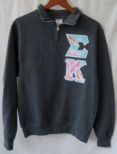 Sigma Kappa Charcoal Quarter Zip With Lilly Pulitzer On by UniversityShop