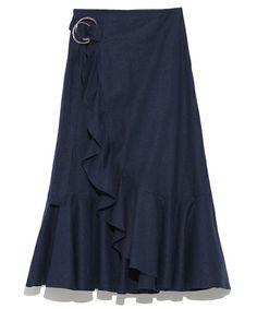 Mila Owen(ミラ オーウェン)の「ラッフルセットアップスカート(スカート)」|ネイビー
