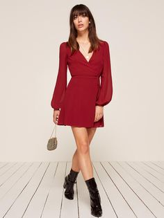 7029a302d6 Rosebud crimson red puffy sleeve wrap dress Reformation Sustainable  Fashion