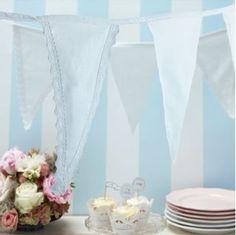 Ver detalles de Banderín romántico blanco tela 4mts