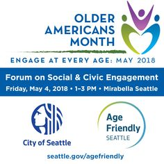 Looking forward to this Older Americans Month event with Seattle City Councilmember Sally Bagshaw ! Seattle City, King County, Event Calendar, Sally, American