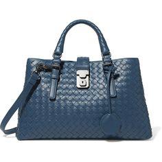 Bottega Veneta Roma small intrecciato leather tote ($3,180) ❤ liked on Polyvore featuring bags, handbags, tote bags, blue, blue tote bag, leather tote, leather handbags, genuine leather tote and leather tote purse