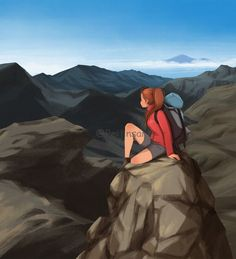 Illustration art and merchandise by PeijinsArt Girl Cartoon, Cartoon Art, Alone Art, Girly Drawings, Landscape Walls, Abstract Landscape, Digital Art Girl, Cute Illustration, Mountain View