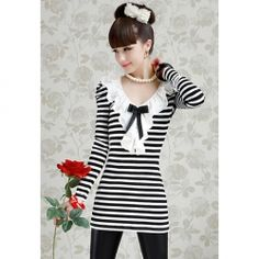 $11.70 Charming V-Neck Stripe Pattern Bow-Tie Embellished Long Sleeves T-Shirt For Women